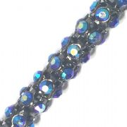 Blue AB rhinestone gun metal colour reticulated chain